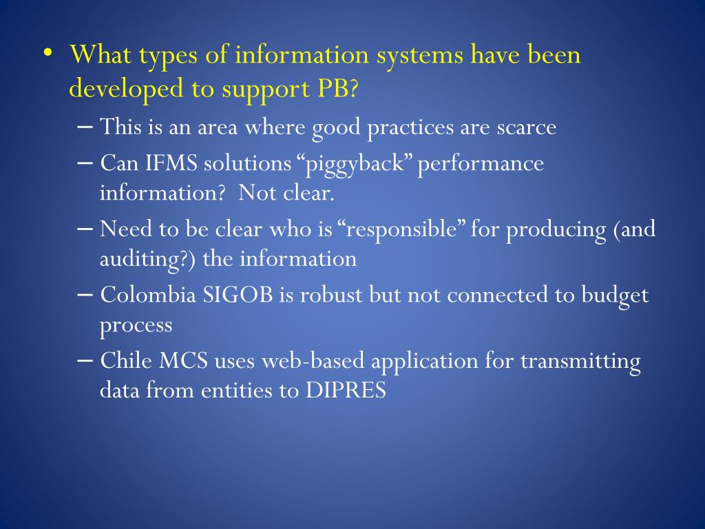 What types of information systems have been developed to support PB?