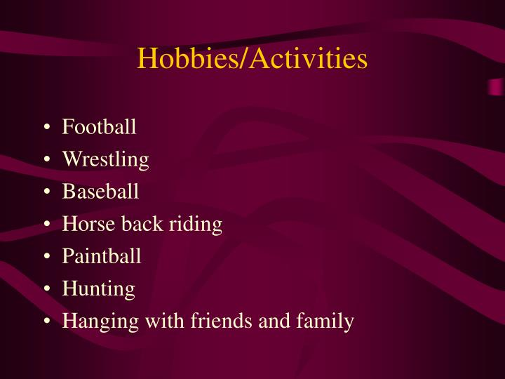 Hobbies activities