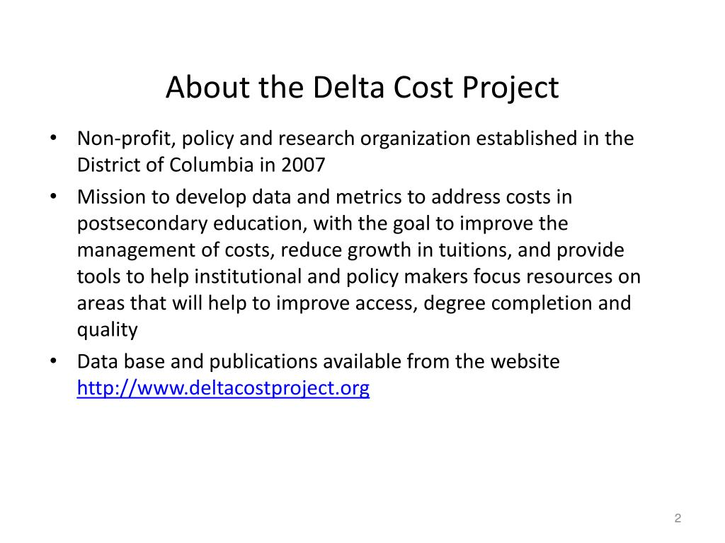 About the Delta Cost Project