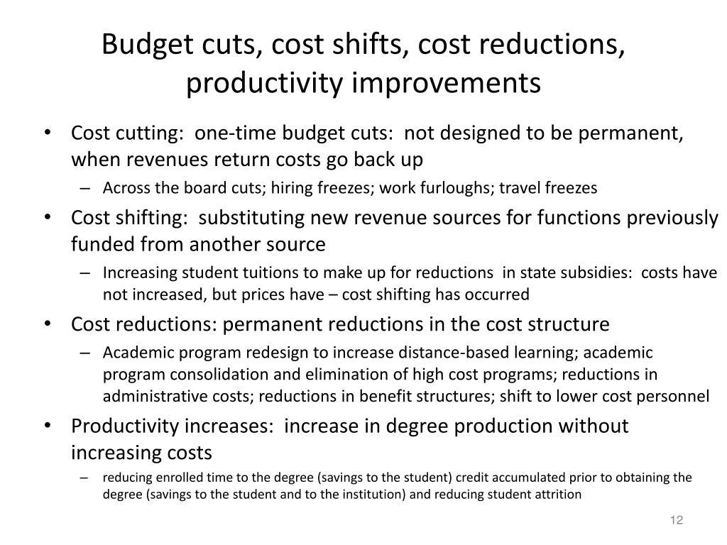 Budget cuts, cost shifts, cost reductions, productivity improvements