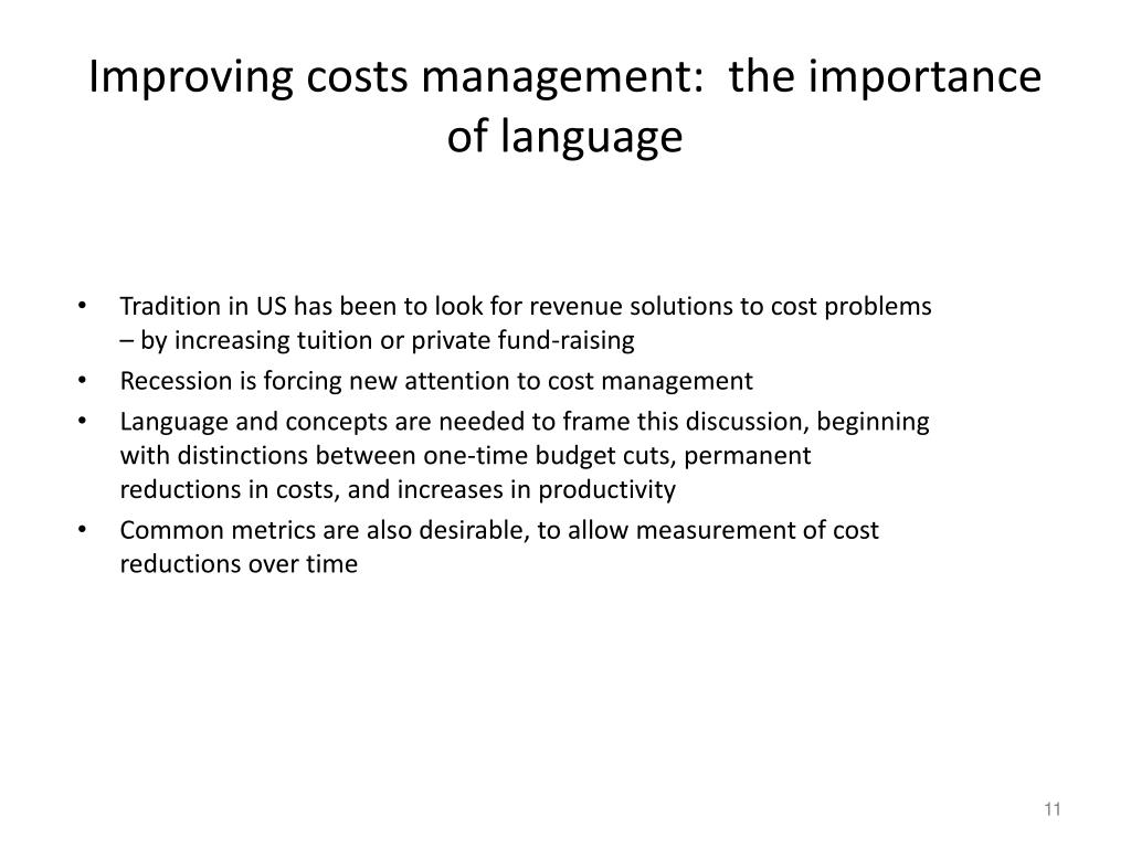 Improving costs management:  the importance of language