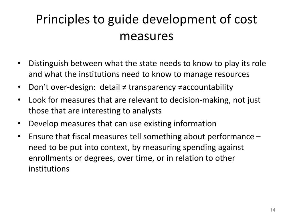 Principles to guide development of cost measures