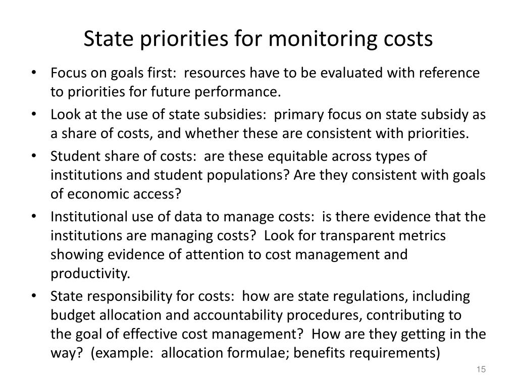 State priorities for monitoring costs