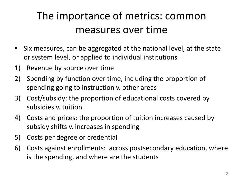 The importance of metrics: common measures over time