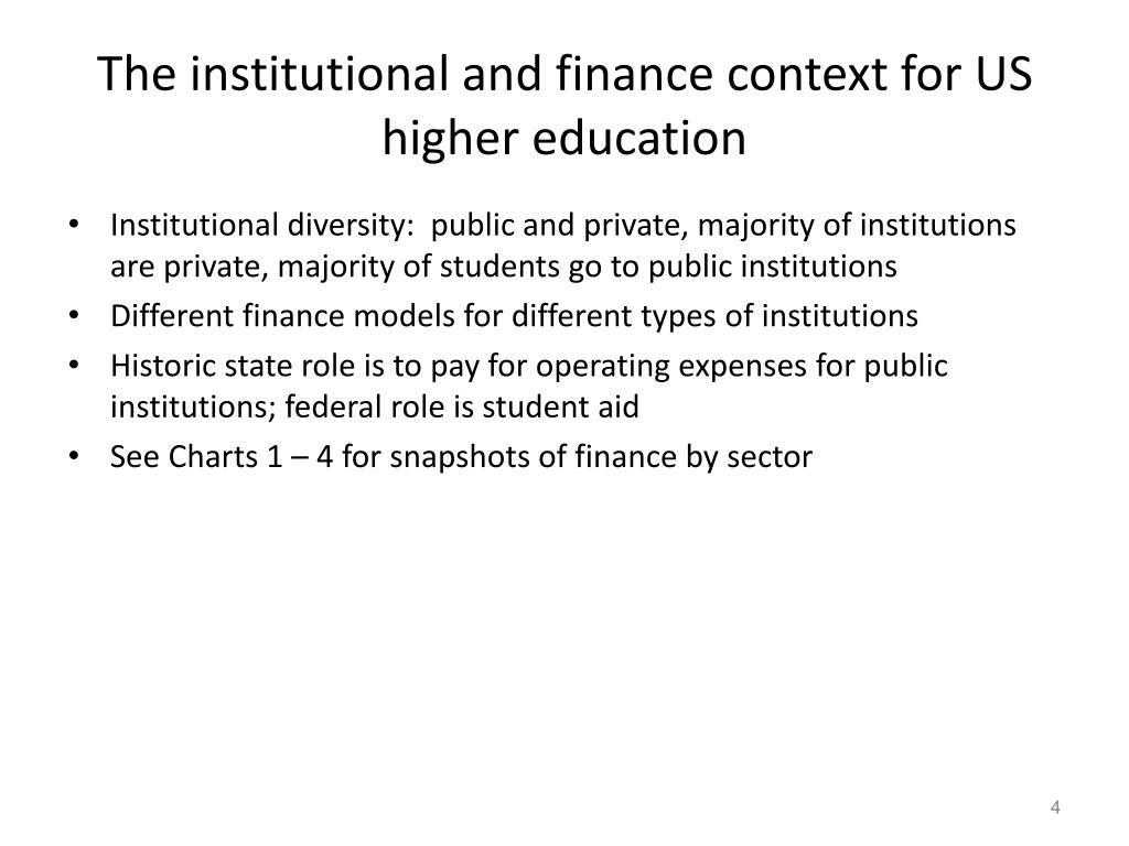 The institutional and finance context for US higher education