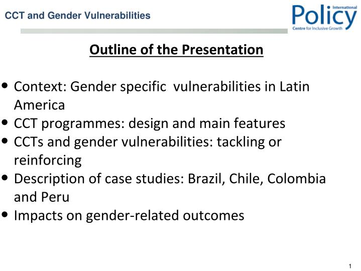 Cct and gender vulnerabilities