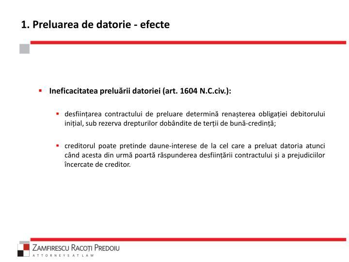 1. Preluarea de datorie - efecte