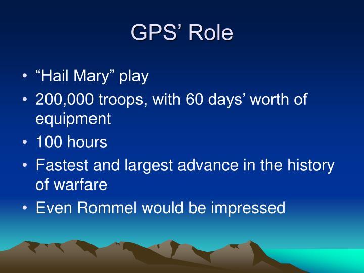 GPS' Role