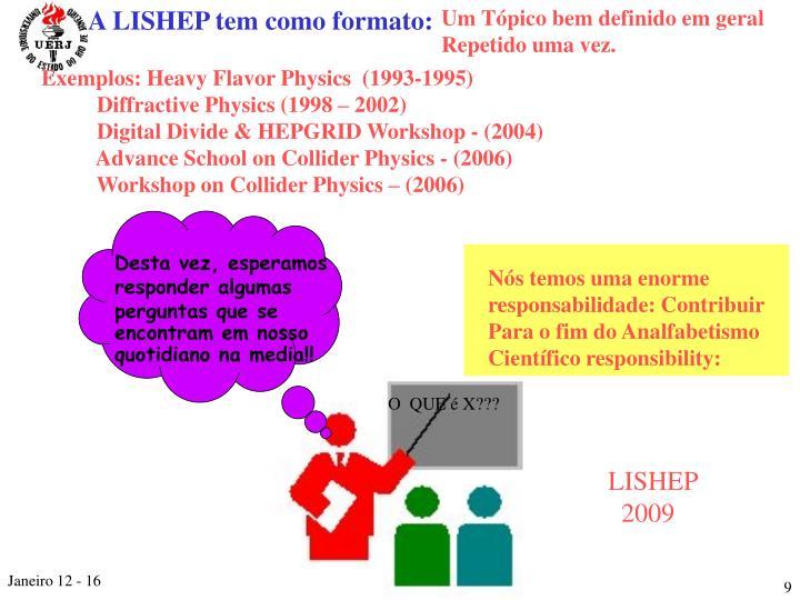 A LISHEP tem como formato: