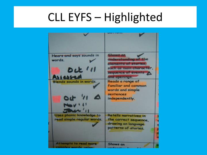CLL EYFS – Highlighted