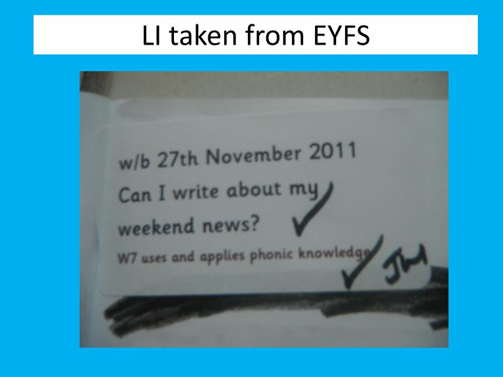 LI taken from EYFS