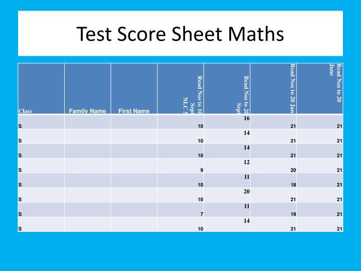 Test Score Sheet