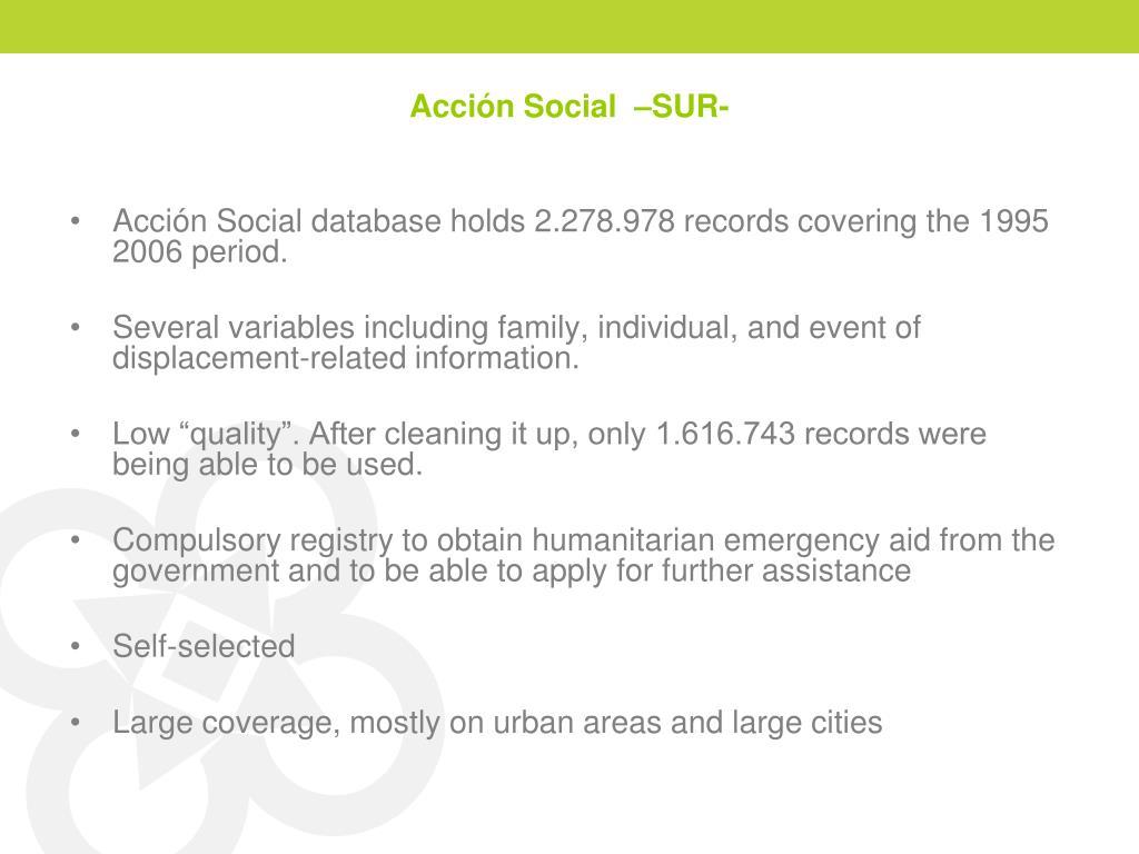 Acción Social  –SUR-