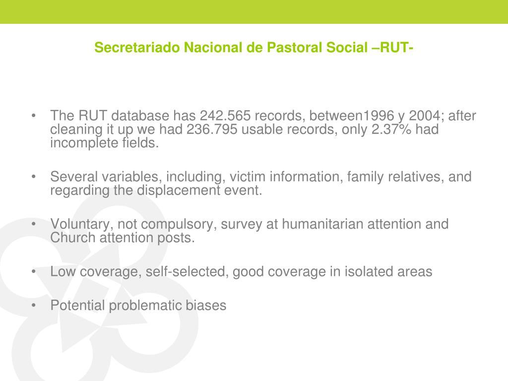 Secretariado Nacional de Pastoral Social –RUT-