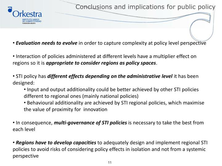 Conclusions and implications for public policy