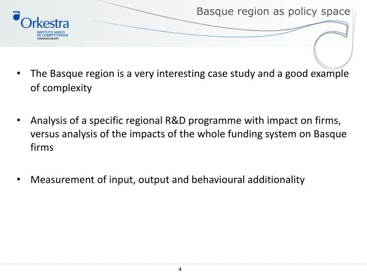 Basque region as policy space