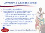 university college netball