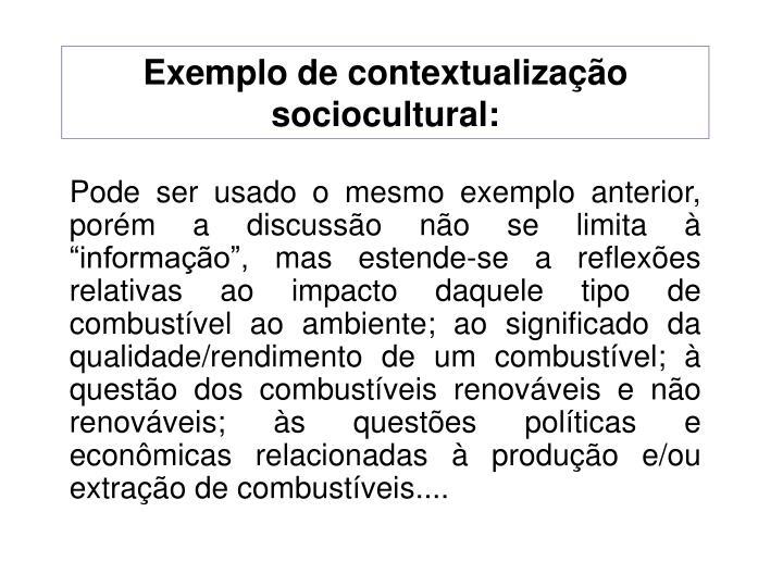 Exemplo de contextualização sociocultural: