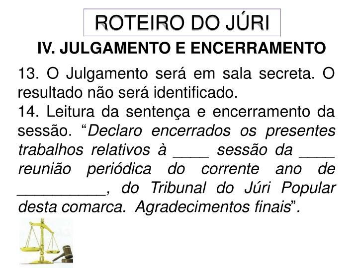 ROTEIRO DO JÚRI