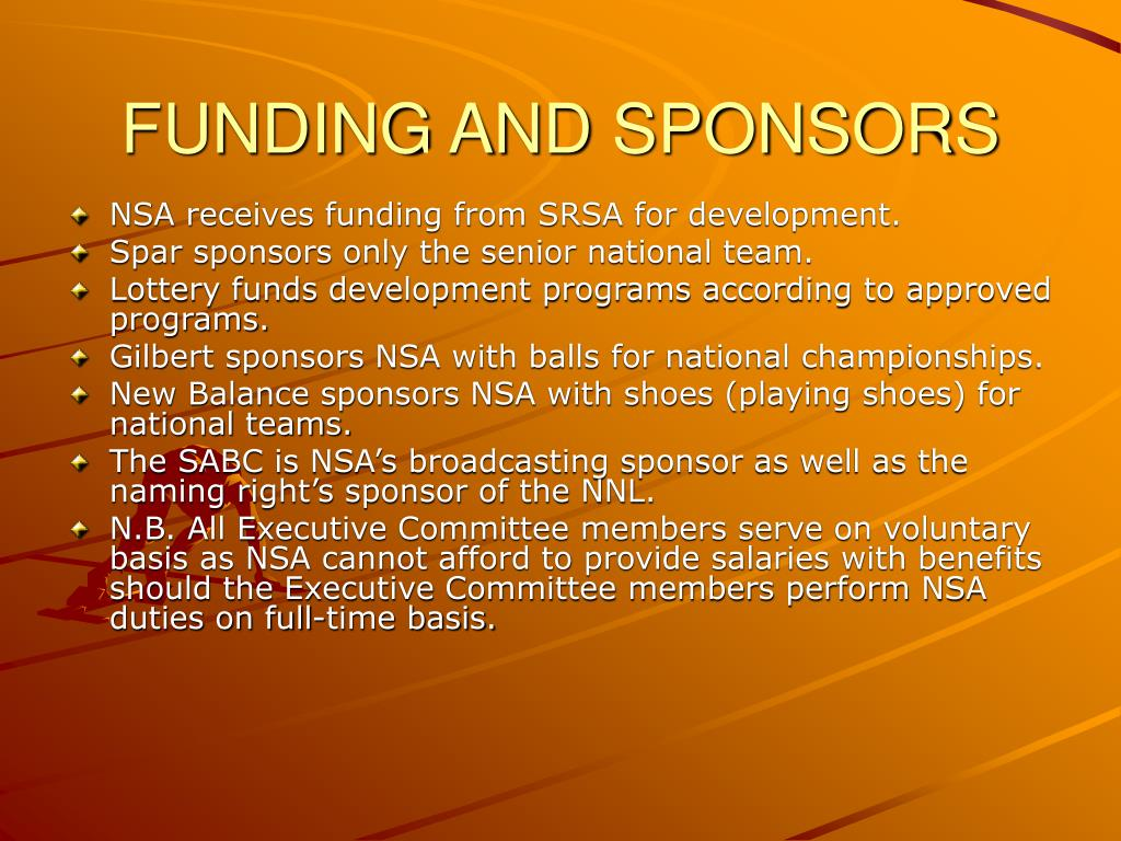 FUNDING AND SPONSORS