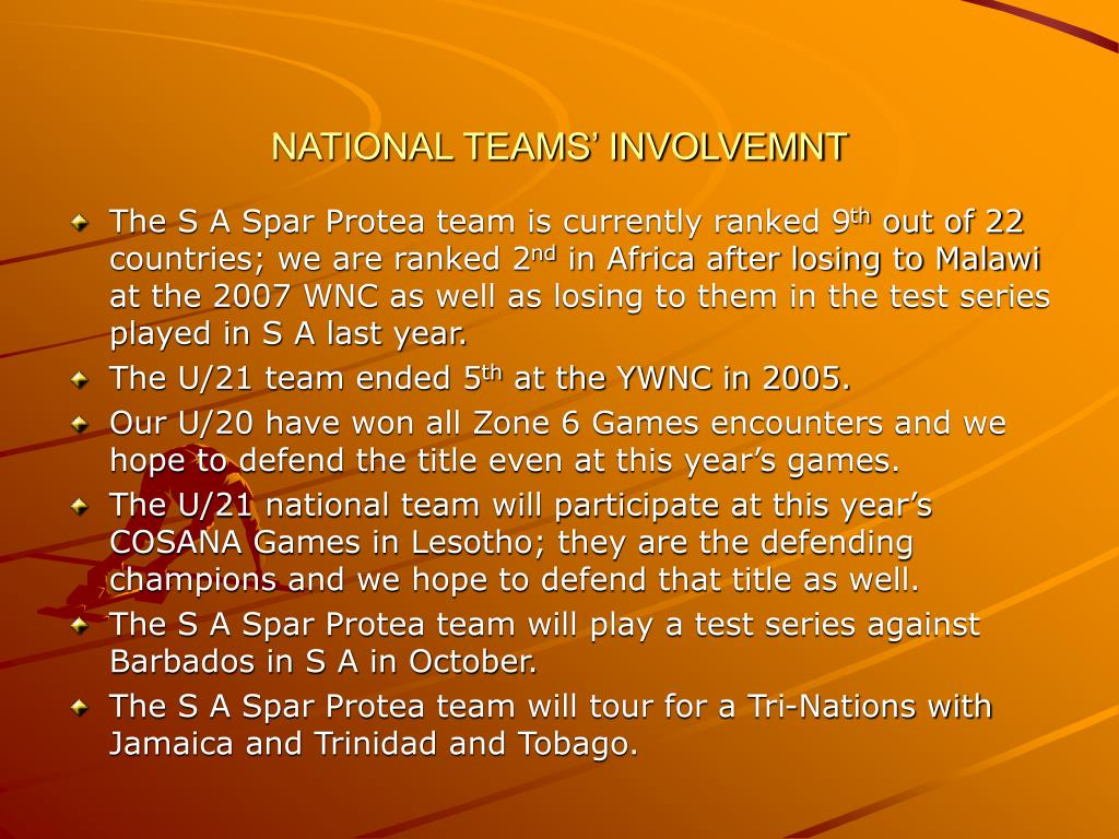 NATIONAL TEAMS' INVOLVEMNT