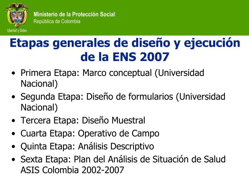Etapas generales de diseño y ejecución de la ENS 2007