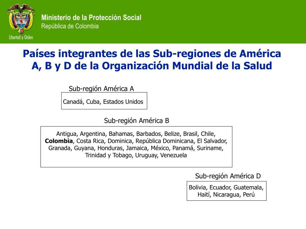 Países integrantes de las Sub-regiones de América A, B y D de la Organización Mundial de la Salud
