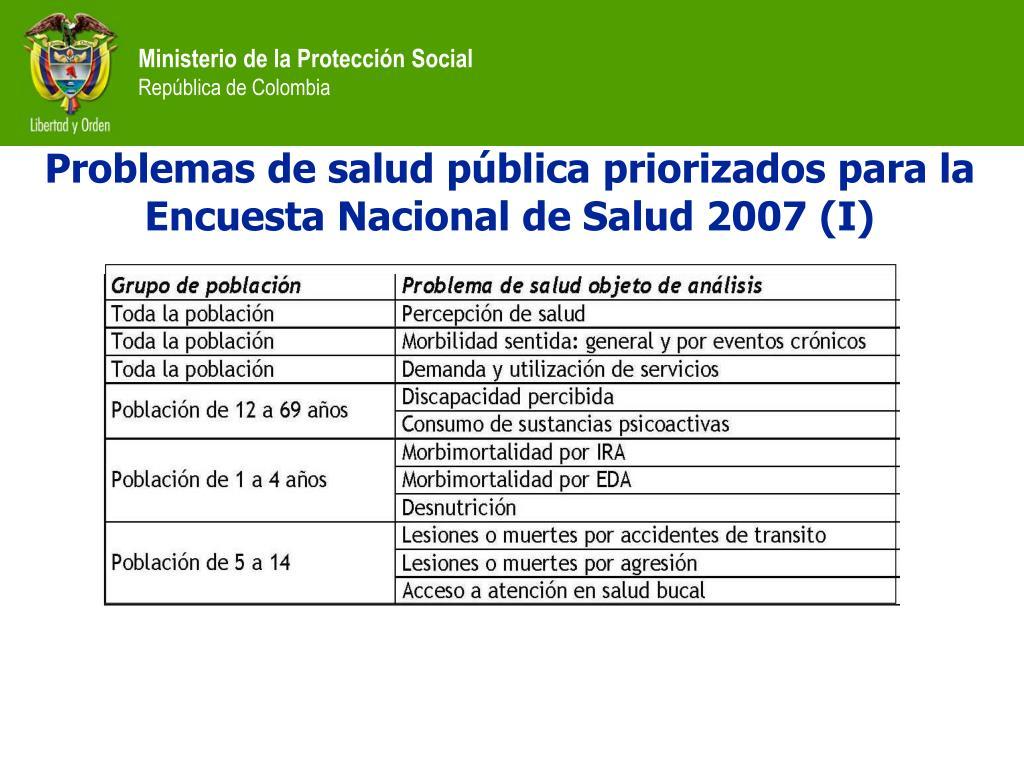 Problemas de salud pública priorizados para la Encuesta Nacional de Salud 2007 (I)