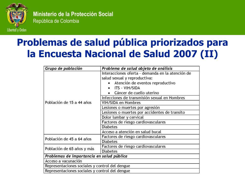 Problemas de salud pública priorizados para la Encuesta Nacional de Salud 2007 (II)
