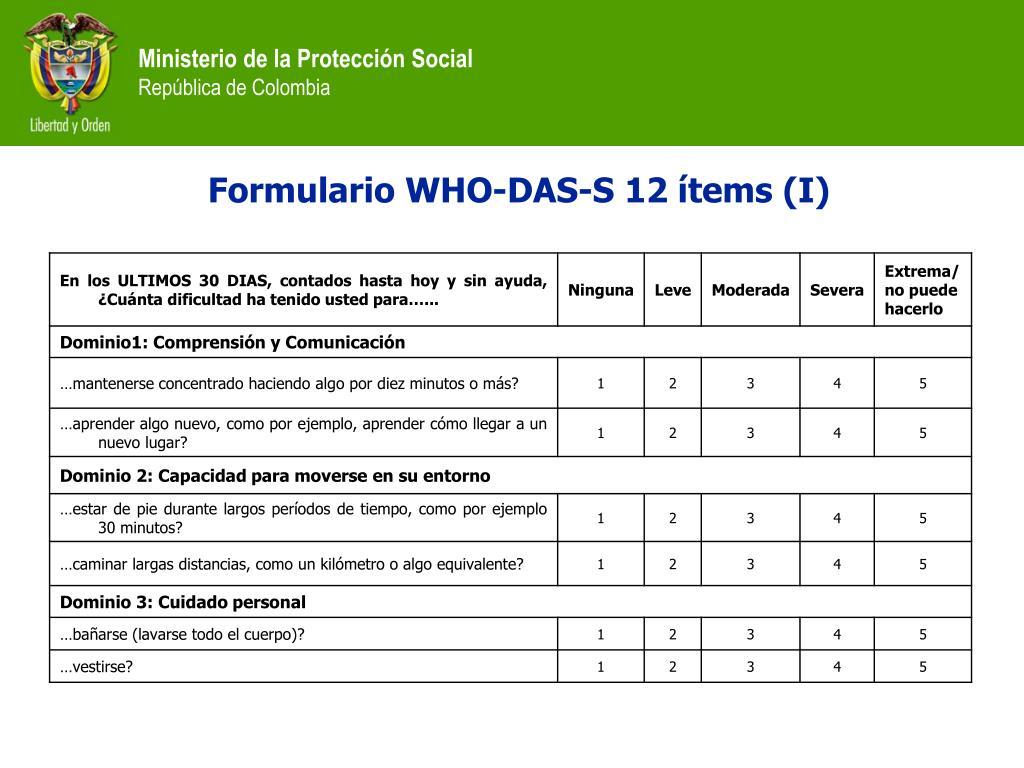 Formulario WHO-DAS-S 12 ítems (I)