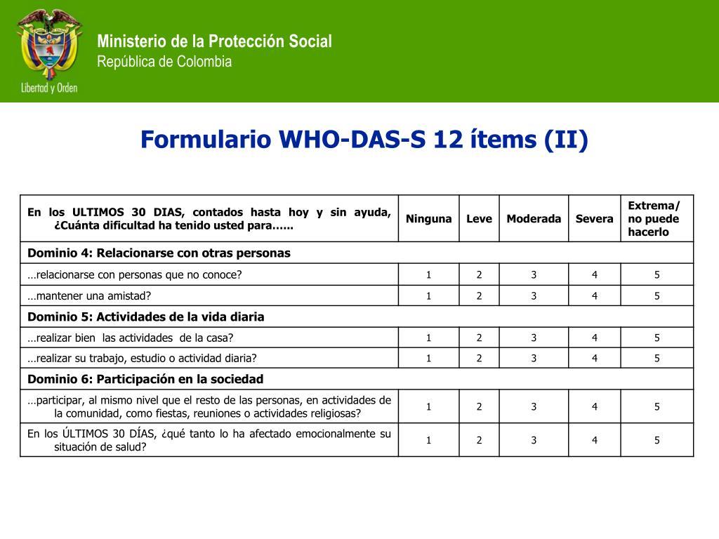 Formulario WHO-DAS-S 12 ítems (II)