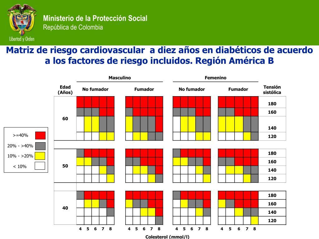 Matriz de riesgo cardiovascular  a diez años en diabéticos de acuerdo a los factores de riesgo incluidos. Región América B