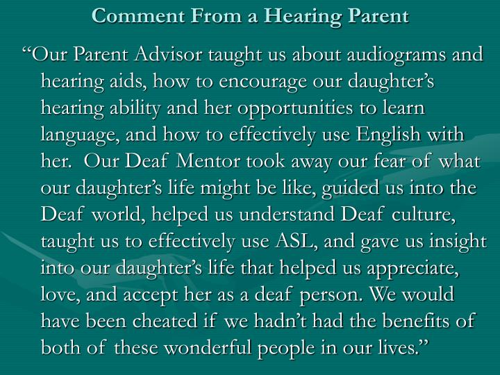Comment From a Hearing Parent