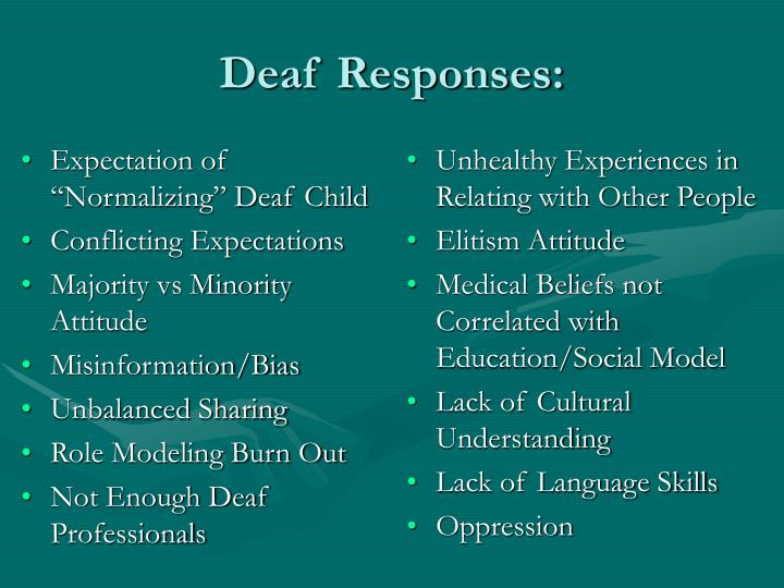 "Expectation of ""Normalizing"" Deaf Child"