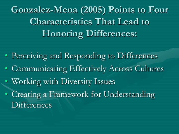 Gonzalez-Mena (2005) Points to Four Characteristics That Lead to Honoring Differences: