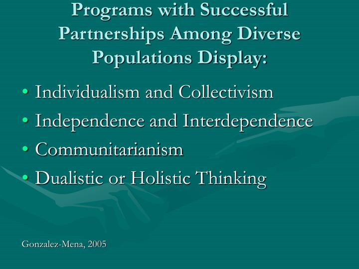 Programs with Successful Partnerships Among Diverse Populations Display: