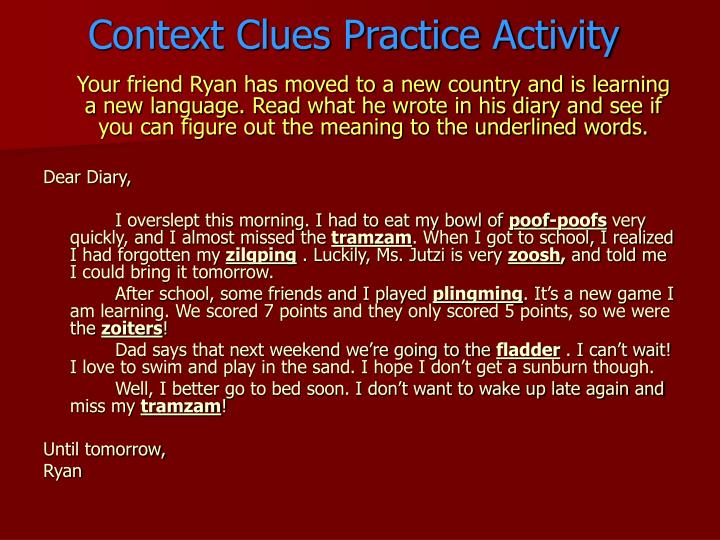 Context Clues Practice Activity