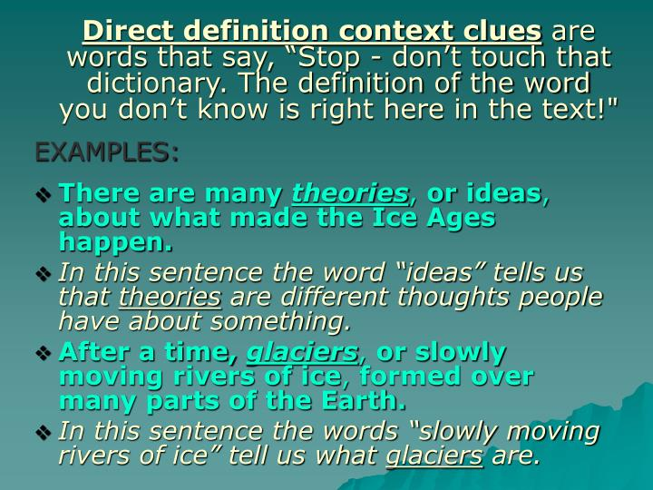 Direct definition context clues