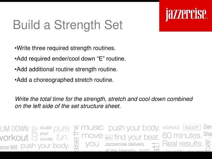 Write three required strength routines.