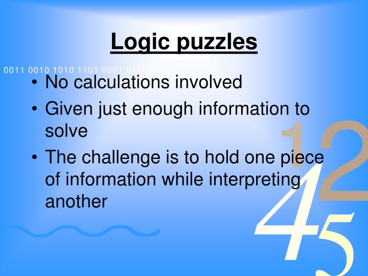 Logic puzzles