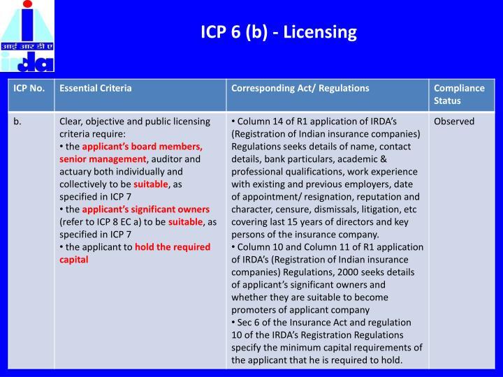 ICP 6 (b) - Licensing