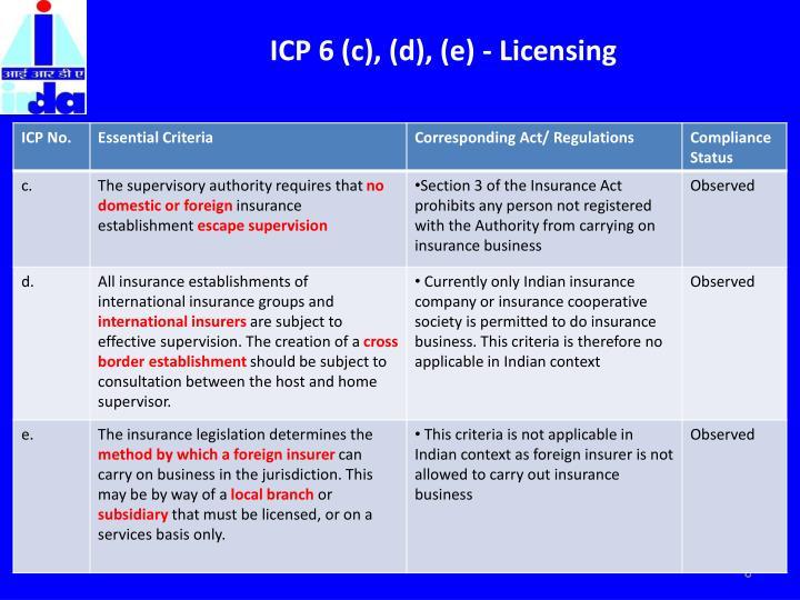 ICP 6 (c), (d), (e) - Licensing