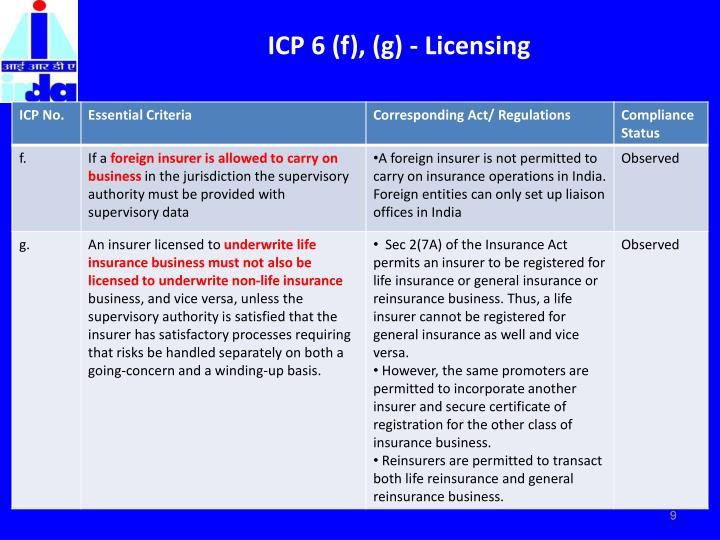 ICP 6 (f), (g) - Licensing