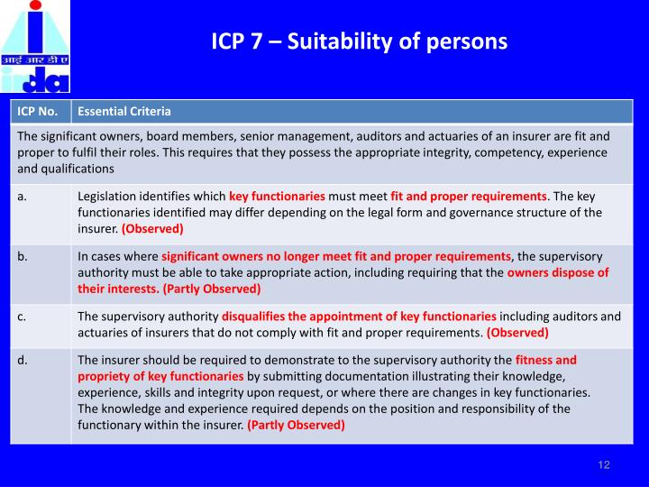 ICP 7 – Suitability of persons