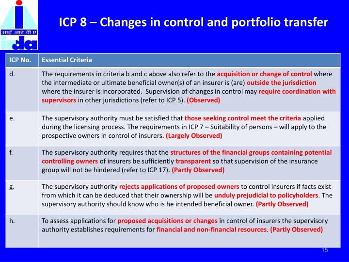 ICP 8 – Changes in control and portfolio transfer