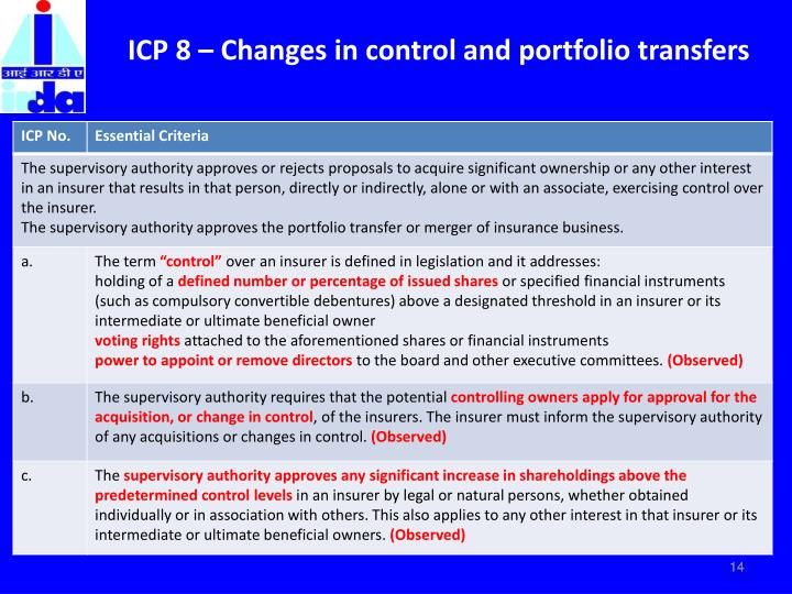 ICP 8 – Changes in control and portfolio transfers