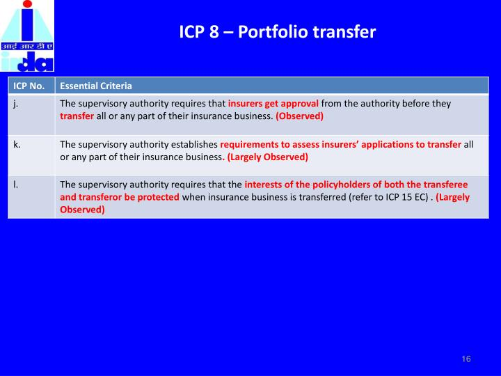 ICP 8 – Portfolio transfer