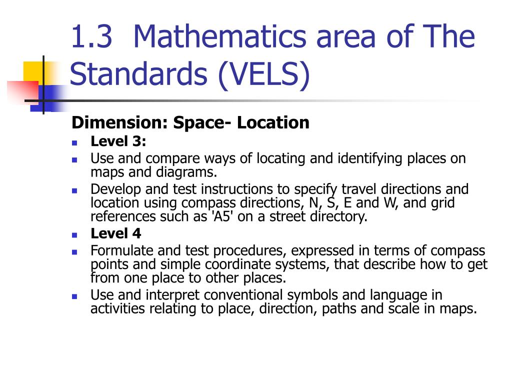 1.3  Mathematics area of The Standards (VELS)