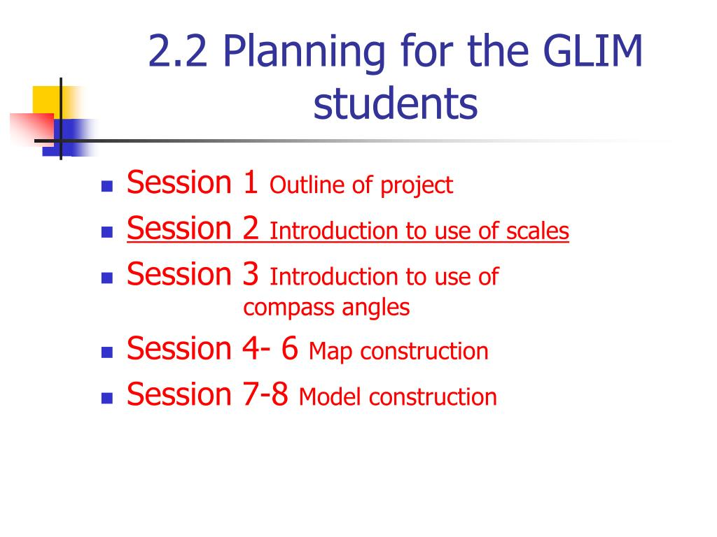 2.2 Planning for the GLIM students