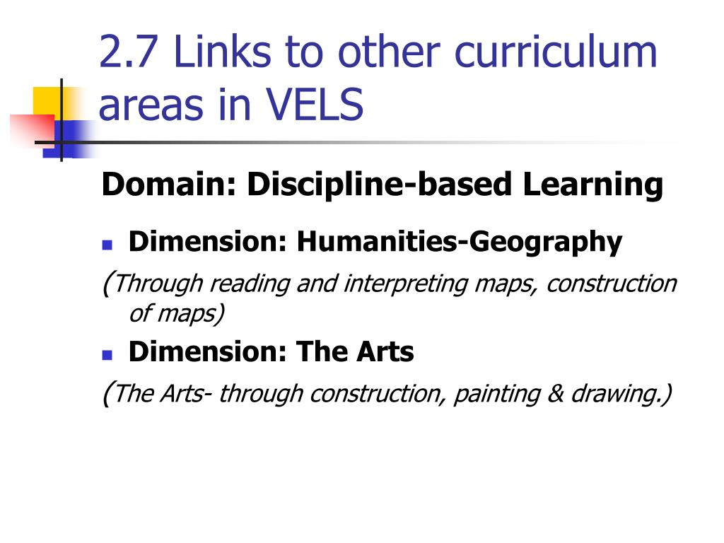 2.7 Links to other curriculum areas in VELS